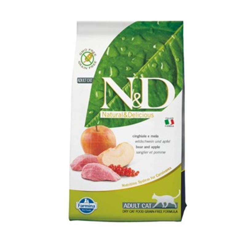 N&D Adult Cat Grain Free divja svinja in jabolka 2x5kg