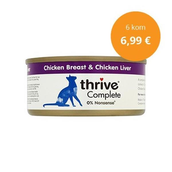 Thrive paket Complete piščanec in jetra 6x75g