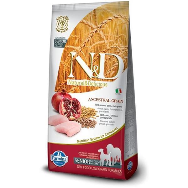 N&D Chicken and Pomegranate Low Grain Senior Maxi 12kg